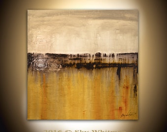 Original Abstract Painting Large Modern Contemporary Textured Square Oil Painting Amber Cream Abstract Art High Gloss 36x36 Sky Whitman