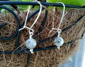 Pyrite, Fool's Gold, in White Quartz Focal on Sterling Silver Lock Ear Wires (12E)