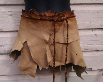 Caramel and Cream Leather Wrap Belt -- burning man wasteland weekend tribal fusion belly dance amazon larp barbarian woodland