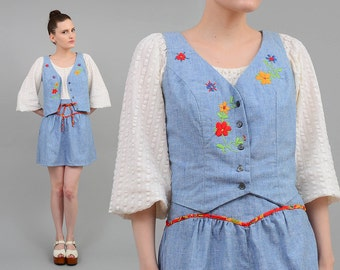 Vintage 70s Blue Cotton Embroidered Floral 2 piece Dress Set Cropped Vest + Mini Skirt Small S