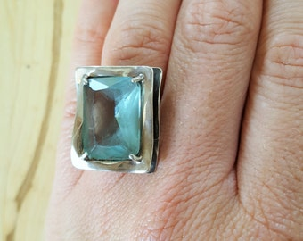 SUPER SALE... Knockout Modernist Aquamarine Huge Stone Sterling silver Ring made in Israel . Size 7. Aquamarine 925 Ring. Israel Ring 925.