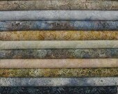 HOP Batavian Blue Stone Grey and Brown Wilmington Prints. 12 Fat Quarter Bundle Pre-Cuts!  Fat Quarter Batik Sampler--100% Cotton
