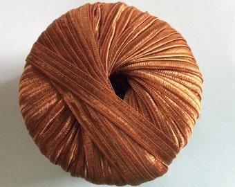 Filati FF Kristha #16 Copper Ribbon Yarn - 5/8 inch wide ribbon x 60 yards 50 Gram Ball