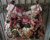 Vintage Velvet Chenille, Pink, Rhinestone Brooch, Loop Ribbon