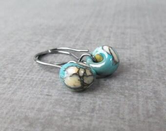 Mottled Turquoise Glass Dangles, Lampwork Earrings Turquoise, Small Turquoise Blue Earrings, Oxidized Silver Earrings, Turquoise Glass Drop