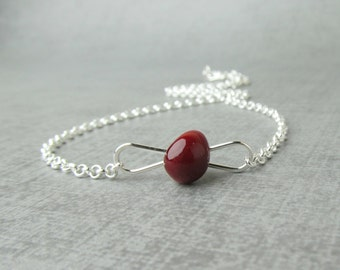 Lampwork Necklace Red, Blood Red Necklace, Red Glass Necklace, Silver Layering Necklace, Red Silver Wire Necklace, Sterling Silver Necklace