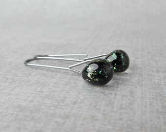 Black Sparkle Modern Dangles, Black Earrings Dangle, Dark Silver Earrings Black, Black Lampwork Earrings, Oxidized Sterling Silver Earrings