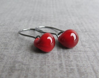 Blood Red Dangle Earrings, Small Red Earrings, Oxidized Wire Earrings, Petite Red Dangles, Sterling Silver Earrings, Red Lampwork Earrings