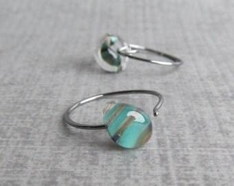 Green Stripe Earrings, Brown Green Earrings, Lampwork Earrings, Small Hoops, Wire Hoops, Striped Glass Earrings, Oxidized Silver Earrings