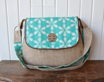 The Primrose Satchel Cross Body Bag in Aqua Floral with Flax linen and Brown Faux leather