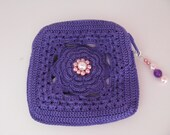 Petite Rose Pouch in Violet / Fully lined