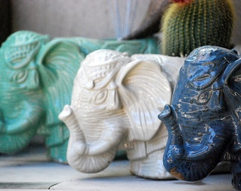 ceramic elephant planter, pottery planter, utensil holder choose your color