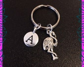 Flamingo keychain, flamingo keyring, personalised initial A keychain, flamingo gift UK