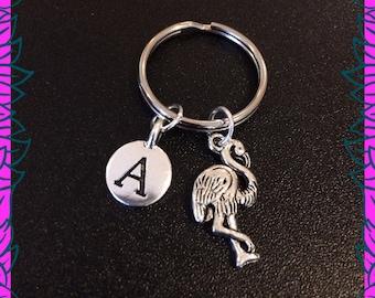 Flamingo keychain, flamingo keyring, personalised initial A keychain, flamingo gift UK