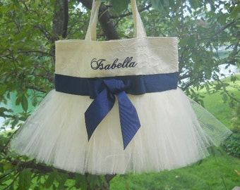 Bridal Tote Bag, embroidered tote bag, dance bag, lace bridal tote bag, wedding tote bag, lace tote bag, tote bag, tutu tote bag TB337 E