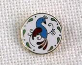 Enamel Pin Brooch Blue Red Golden Bird Green Leaves Vintage 60s Costume Jewelry