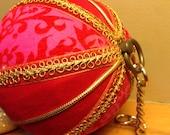 Vintage Velvet Felt Hanging Ball Christmas Music Box