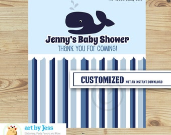 Ahoy Mate Nautical Blue Whale Boy  Baby Shower Customized Hershey Candy Bar Wrapper, PRINTABLE PDF