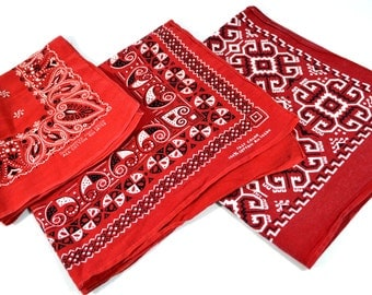 Lot of 3 Red Geometric Southwest Collectible Vintage Fast Color Bandanas