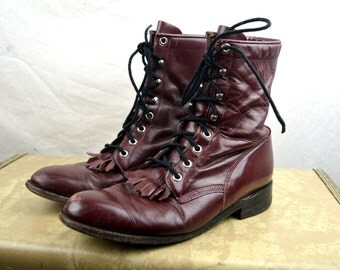 Vintage Justin Leather Roper Fringe Lace Up Boots -  Size 8 B