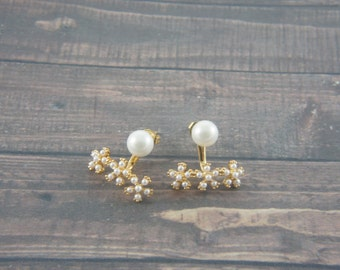 Pearl flower ear jackets, gold ear clutch, wedding, bridesmaid, party jewelry, trendy