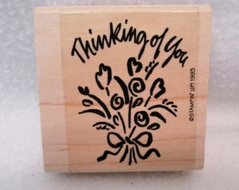 Stampin Up Rubber Stamp THINKING OF YOU Flowers 1993
