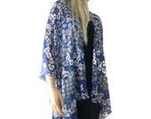 Floral kimono Royal blue and white- Boho Kimono cardigan -oversize chiffon kimono