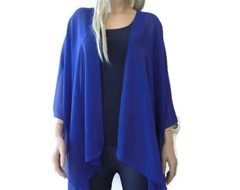 Royal Blue Boho Kimono/ Kimono cardigan-Solid Royal blue Lagenlook chiffon kimono- Great for weddings and bridesmaids