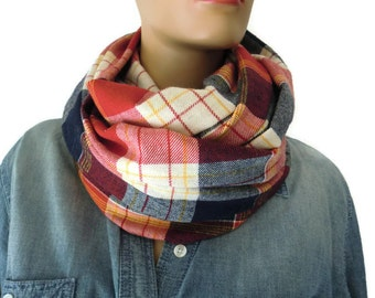 Red plaid flannel infinity scarf/ cowl /Loop scarf unisex flannel  red and blue Infinity Scarf