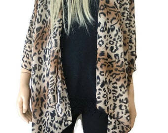 Leopard Kimono/ Kimono cardigan-animal print/leopard print Ruana  summer collection-Layering piece