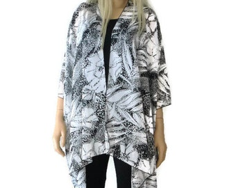 Kimono cardigan -Black and white floral-oversize chiffon kimono- summer collection