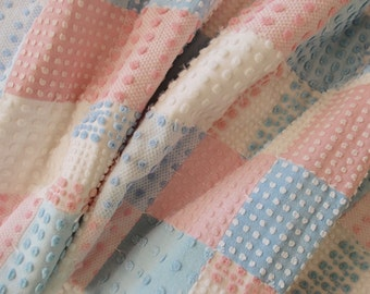 """Vintage Chenille Baby quilt made in shades of pink, blue and white, all Morgan Jones - crib size 30"""" x 50"""" - #900-17"""