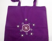 Purple Floral Embroidered Tote Bag