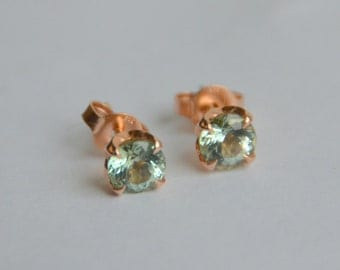 5mm Mint Green Tourmaline Studs Set in 14 my Rose Gold Floral Setting