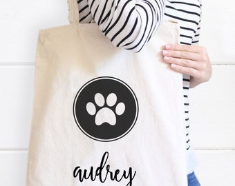 Paw Print Tote Bag, Dog Tote Bag, Fur Baby Canvas Tote bag, Gifts for Pet lovers, Dog Tote, Heart Tote, Pet Tote Bag, Personalized Dog Tote