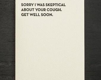skeptical. letterpress card. #915