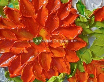 Orange Dahlia, Original Oil Painting, Impasto Oil Painting
