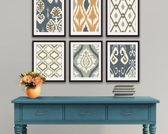 Ikat and Geometric Patterns (Series L) Set of 6 - Art Prints (Featured in Copper. Charcoal and Grey) Blue Ikat Wall Art
