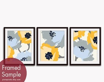 Blooming Garden (Series A) Set of 3 - Art Prints (Featured in Blue, Grey, Yellow color scheme) Botanical Art Print / Poster