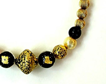 "VENETIAN SPARKLE MURANO foil 16 3/4"" necklace, tigers eye, bicone beads, decorative metal,gold,black,amber,brown,elegant classic"