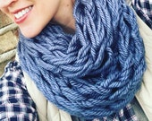 WINTER SPECIAL- Cozy Knit Infinity Scarf, Arm knit, denim, blue, Neck scarf, infinity scarf, knit scarf, circle scarf, fall, winter