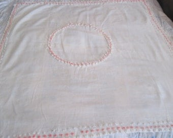 Vintage square tablecloth white popcorn chenille 1950s dot pattern edges cotton table linens pink and white fabric handmade retro fabric