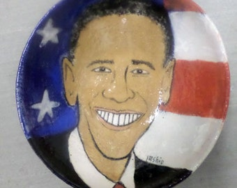 Hand-thrown and painted one of a kind ceramic bowl with portrait of President Obama