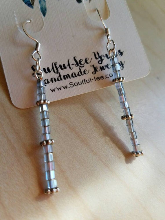 Gray crystal earrings, long gray earrings, crystal earrings, long crystal earrings, dangle crystal earrings, dangle gray crystal earrings