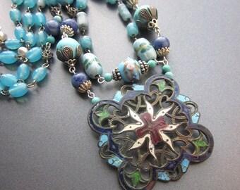SALE Repurposed Assemblage Beaded Necklace Art Nouveau Enamel Buckle Lapis Vintage Glass Beads