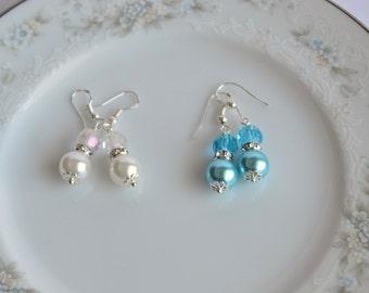 Pastel Bridesmaid Earrings Pearl Cluster Earrings Custom Color Wedding Jewelry Spring Wedding White Aqua