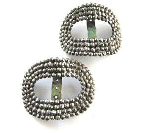 2 Cut Steel Shoe Clips Buckles Slides Oval Vintage Jewelry Supply Assemblage Edwardian Fishel Nessler