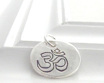 Om Charm - Hand Stamped Silver on Etsy