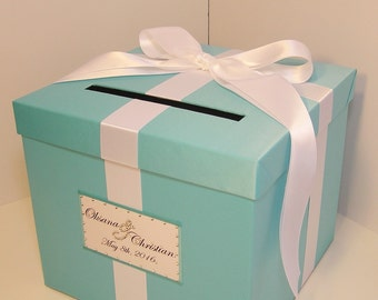 Wedding Card Box Blue Gift Card Box Money Box Holder-Customize your color