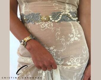 wedding belt jewel in silver